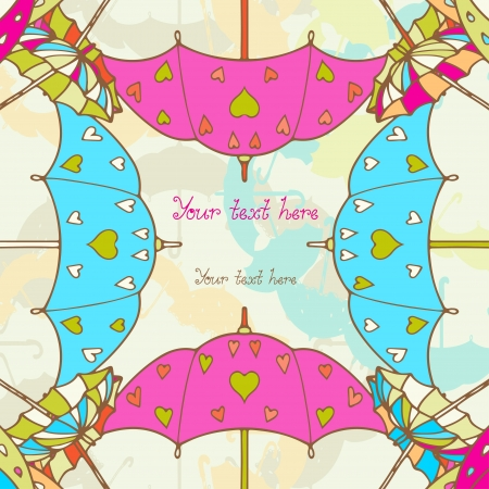 Background with colorful umbrellas and space for text  Vector