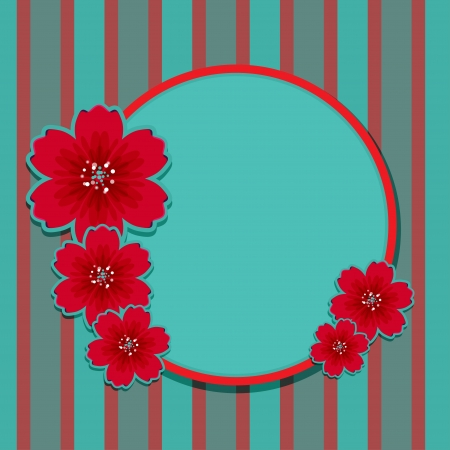striped band: Floral background with frame and space for text