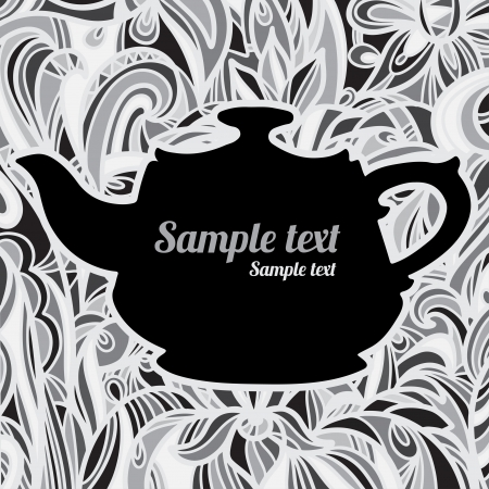 Background with a teapot and  space for text  Vector