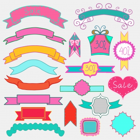 Set of colorful banners and frames Vector