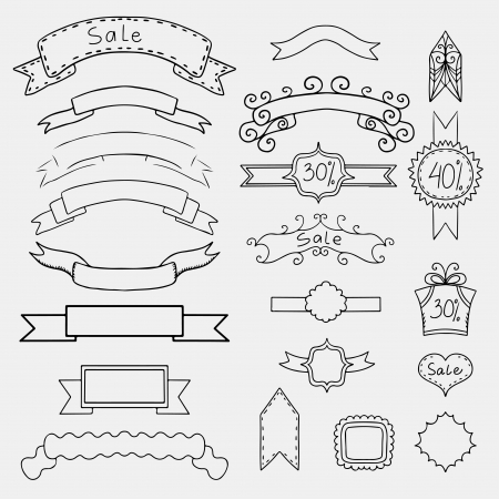 Set of monochrome banners and frames  Vector