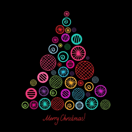 Colorful christmas tree isolated  Vector