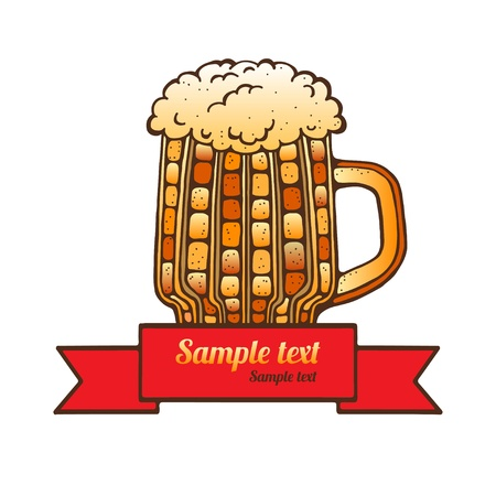 Mug of beer and space for text  Vector