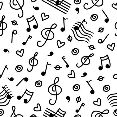 electronic music: Music monochrome seamless pattern Illustration