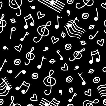 Music monochrome seamless pattern  Vector