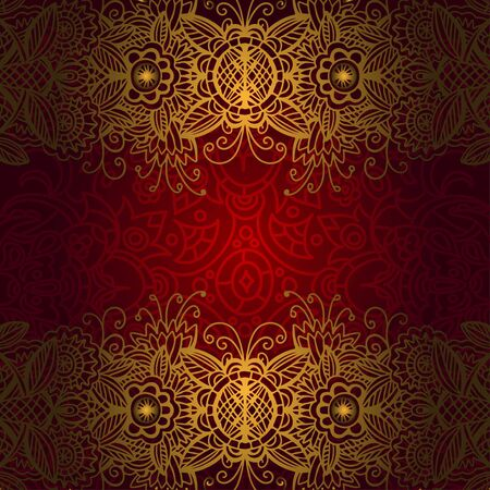 Vintage red and gold floral background with lace and space for text  Vector