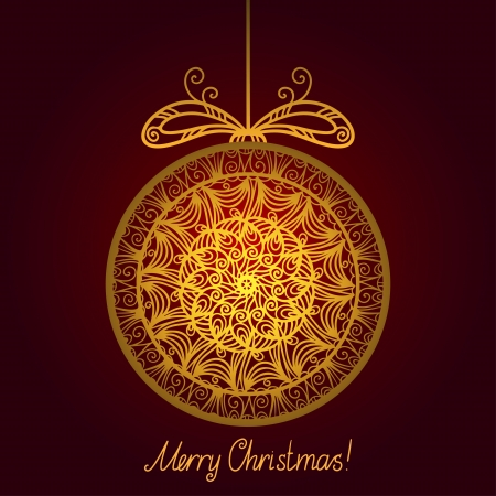 Gold isolated Christmas ball  Vector