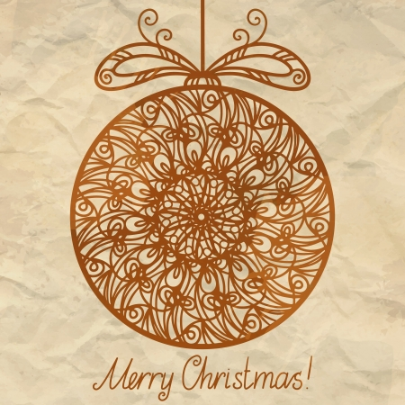 Vintage isolated silhouette Christmas ball and the texture of the paper  Vector