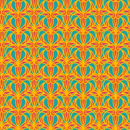 Abstract  floral orange seamless pattern Vector