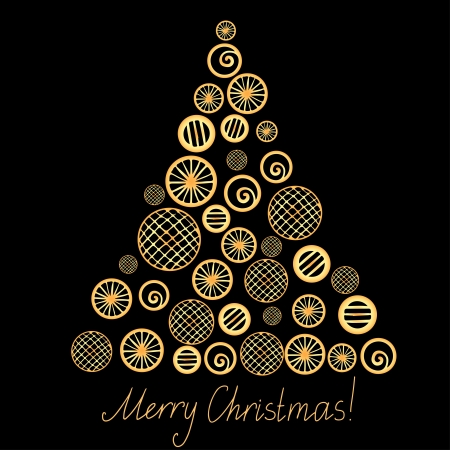 Gold christmas tree isolated and text Merry Christmas