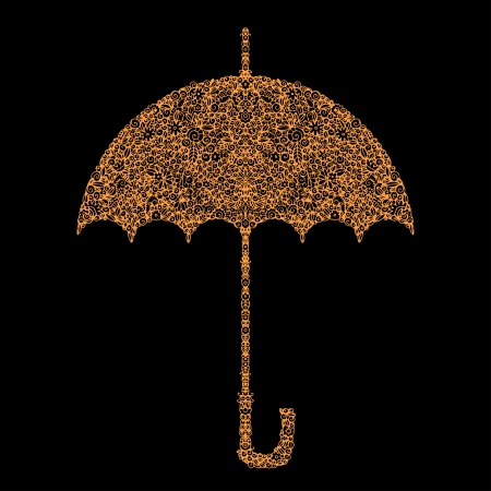 Icon floral umbrella isolated silhouette  Vector
