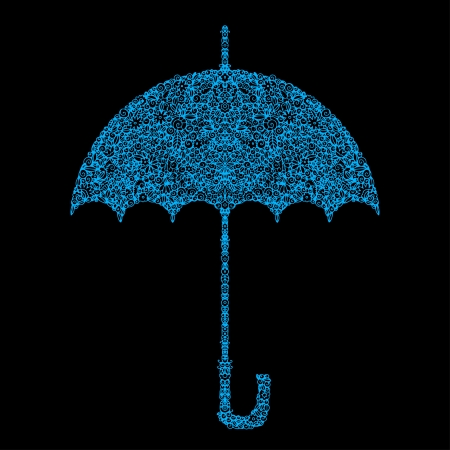 Icon blue flower isolated umbrella  Vector