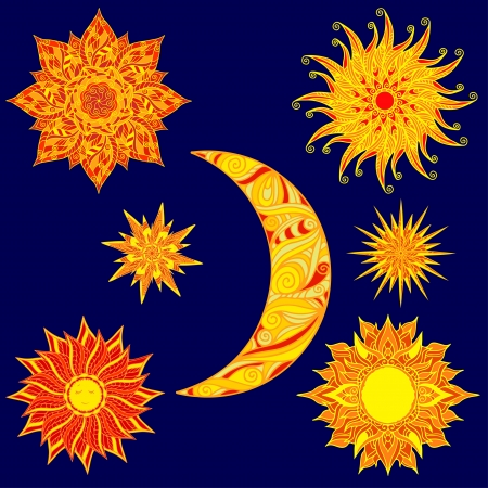 red sun: Set colorful sun, stars and  moon - vector Illustration