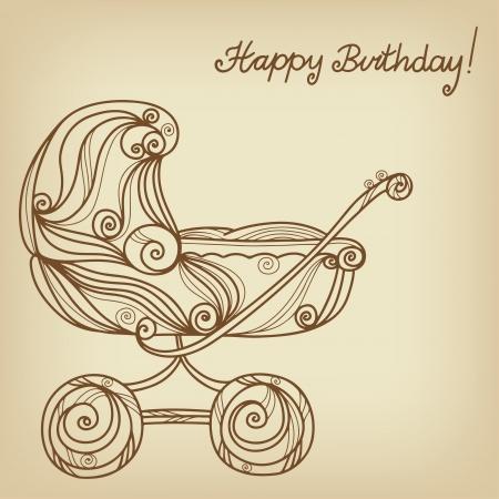 fondo para bebe: Vintage fondo de feliz cumplea�os con cochecito de beb� - vector