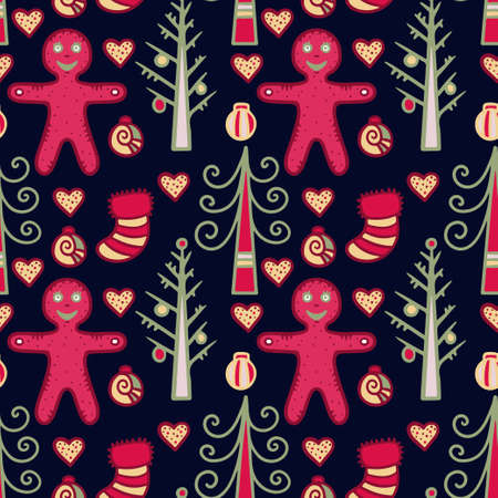 Christmas and New Year seamless pattern - vector Vector