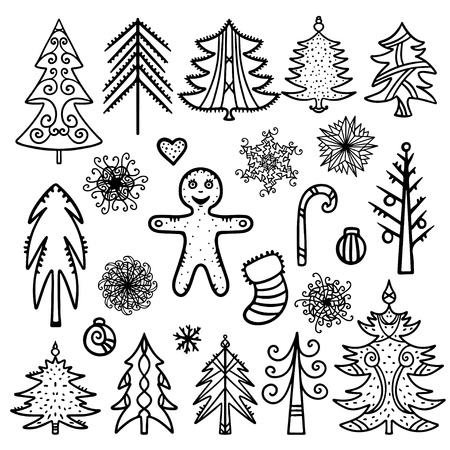 Christmas and New Year icons set silhouette - vector Stock Vector - 21643494