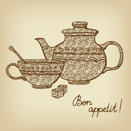 Background with teapot, cup and sugar - vector Vector