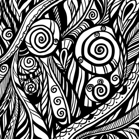 Abstract floral silhouette monochrome background - vector Vector