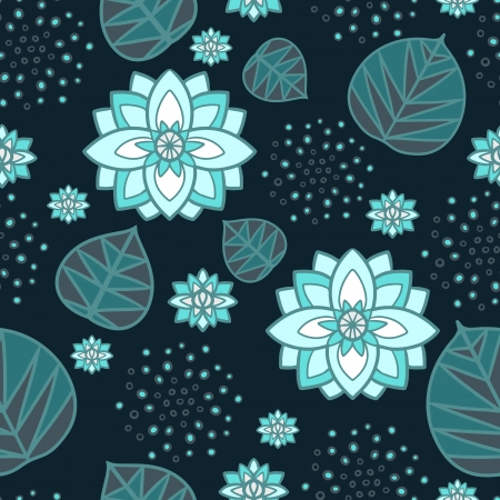 Abstract floral seamless pattern with lotus flowers and leaves Stock Vector - 21776945