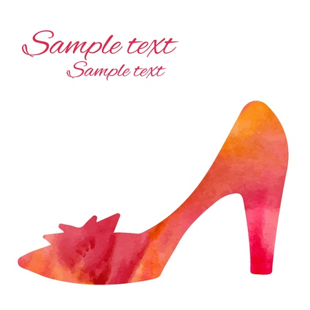 Watercolor shoe isolated silhouette Stock Vector - 21776947