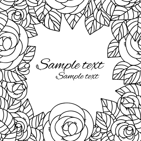 Floral frame with roses and space for text Vector