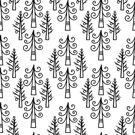 Doodle seamless pattern with christmas tree  Vector