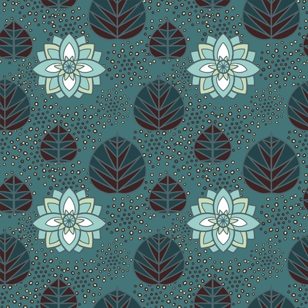 Abstract floral seamless pattern with lotus flowers and leaves  Illustration