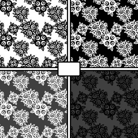 Set black and white floral seamless patterns - vector Vector