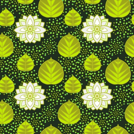 Abstract floral seamless pattern with lotus flowers and leaves - vector Vector