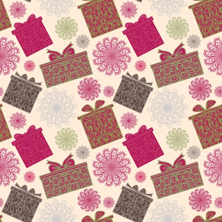 Holiday seamless pattern with snowflakes and gift boxes - vector Vector