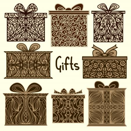 벡터 - 세트 고립 된 실루엣 아이콘 선물 상자 빈티지 휴일 배경