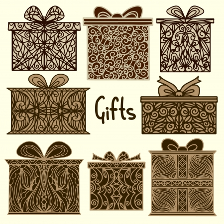 Vintage holiday background with set isolated silhouette icons gift boxes - vector