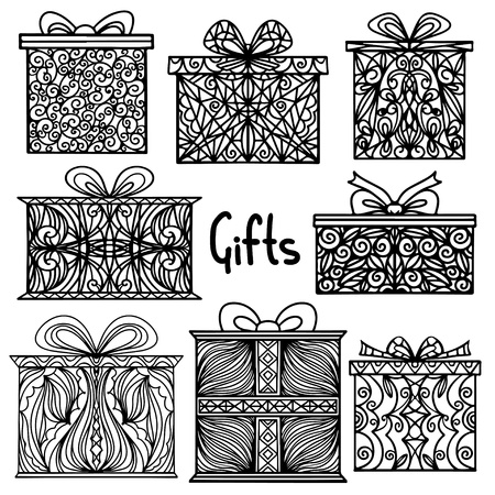 presents: Vintage holiday background with set isolated silhouette icons gift boxes - vector