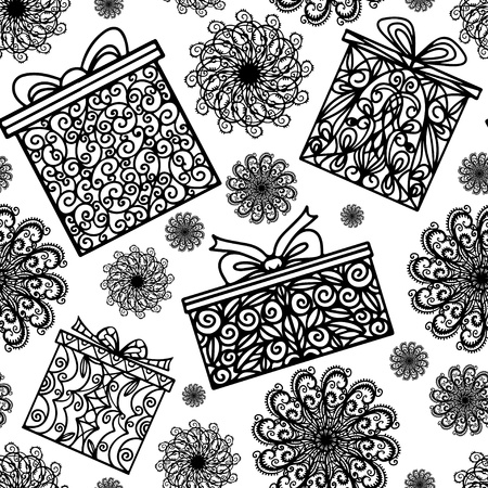Holiday seamless pattern with snowflakes and gift boxes - vector