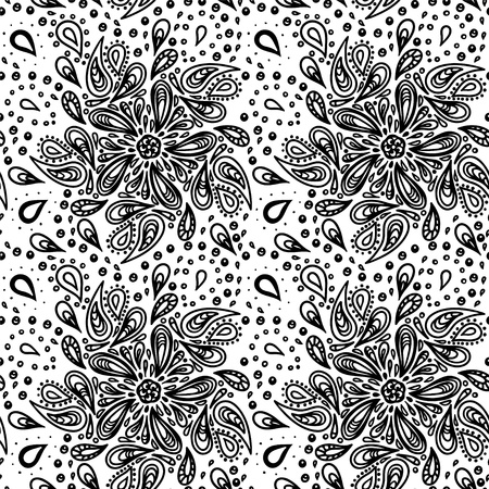 Abstract floral seamless pattern  with paisley - vector Vector