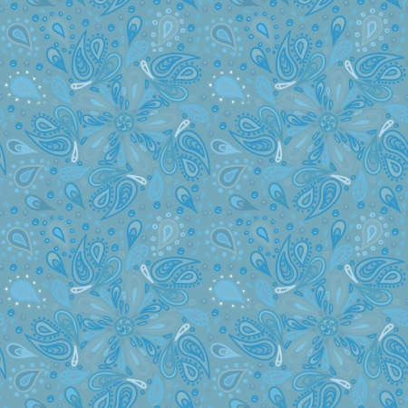 Blue abstract floral seamless pattern - vector Vector