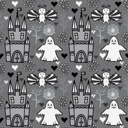 Seamless Halloween pattern with castles and ghosts - vector Vector