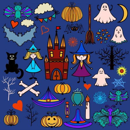 Halloween icons set with pumpkin, broom, castle, trees, fairies, witches, bats, spider, cat, dice, hats, trees, hearts, stars, web, pot, candle, candy, flags, month - vector Vector