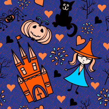 Halloween seamless pattern with pumpkin, fairy, fireworks, lock, heart, spider, trees - vector Vector