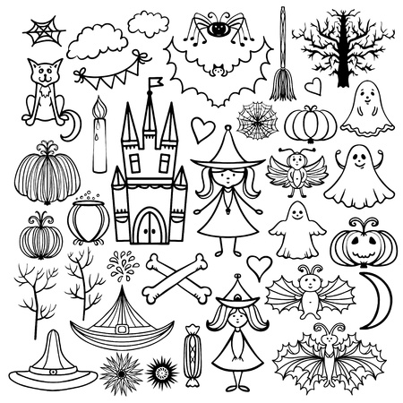 Halloween icons isolated set with pumpkin, broom, castle, trees, fairies, witches, bats, spider, cat, dice, hats, trees, hearts, stars, web, pot, candle, candy, flags, month - vector Vector