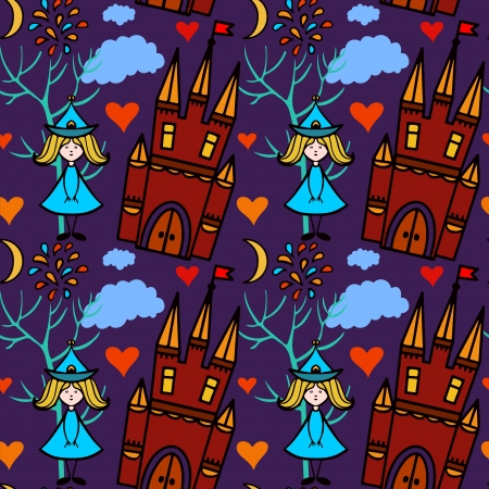 Halloween seamless pattern with castle, fairy, fireworks, heart, trees - vector Stock Vector - 21877969