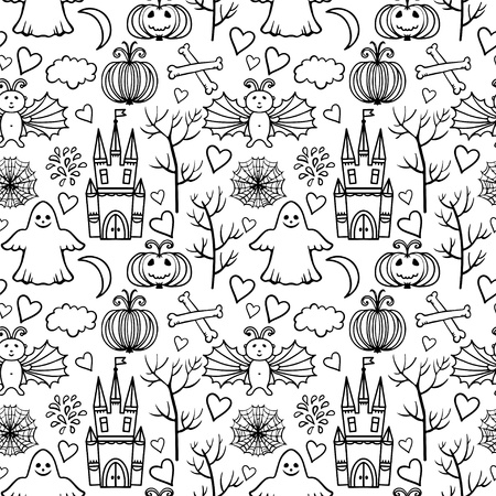 Halloween seamless pattern with ghost, castle, tree, web, heart, fireworks, pumpkins, bones, bat, moon, cloud - vector Vector