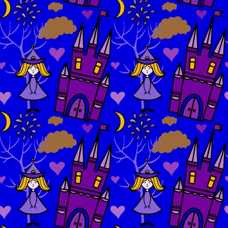 Halloween seamless pattern with  fairy, fireworks, castles, hearts, trees, clouds, moon - vector Vector