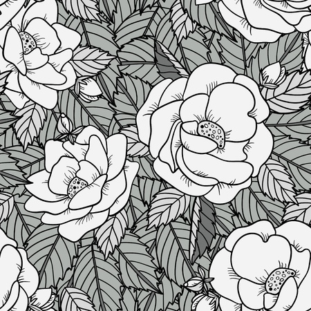 Seamless pattern with roses in black and white - vector Vector