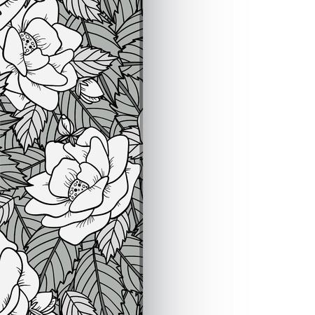 シームレスな背景黒と白のテキストをスペースでバラとベクトル