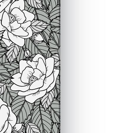 Seamless background with roses in black and white and space for text - vector