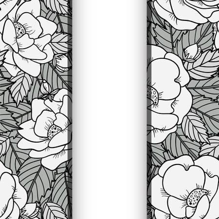 Seamless background with roses in black and white and space for text - vector Vector