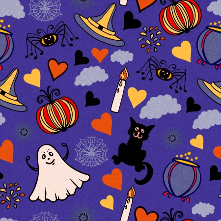 Halloween seamless pattern with pumpkin, fireworks, hearts, spiders, clouds, spiderweb, ghosts, cauldron, candles, cats- vector Vector