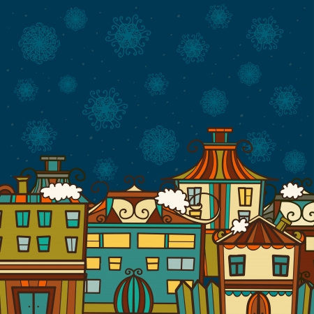 Christmas winter background with houses and space for text - vector Stock Vector - 22199287
