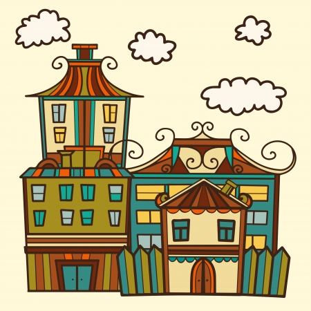 clouds scape: Background with houses and clouds - vector